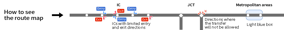 The Route Map shows interchanges (IC) with limited entrances/exits, directions not for transfer at junctions (JCT), and metropolitan areas in light blue boxes.